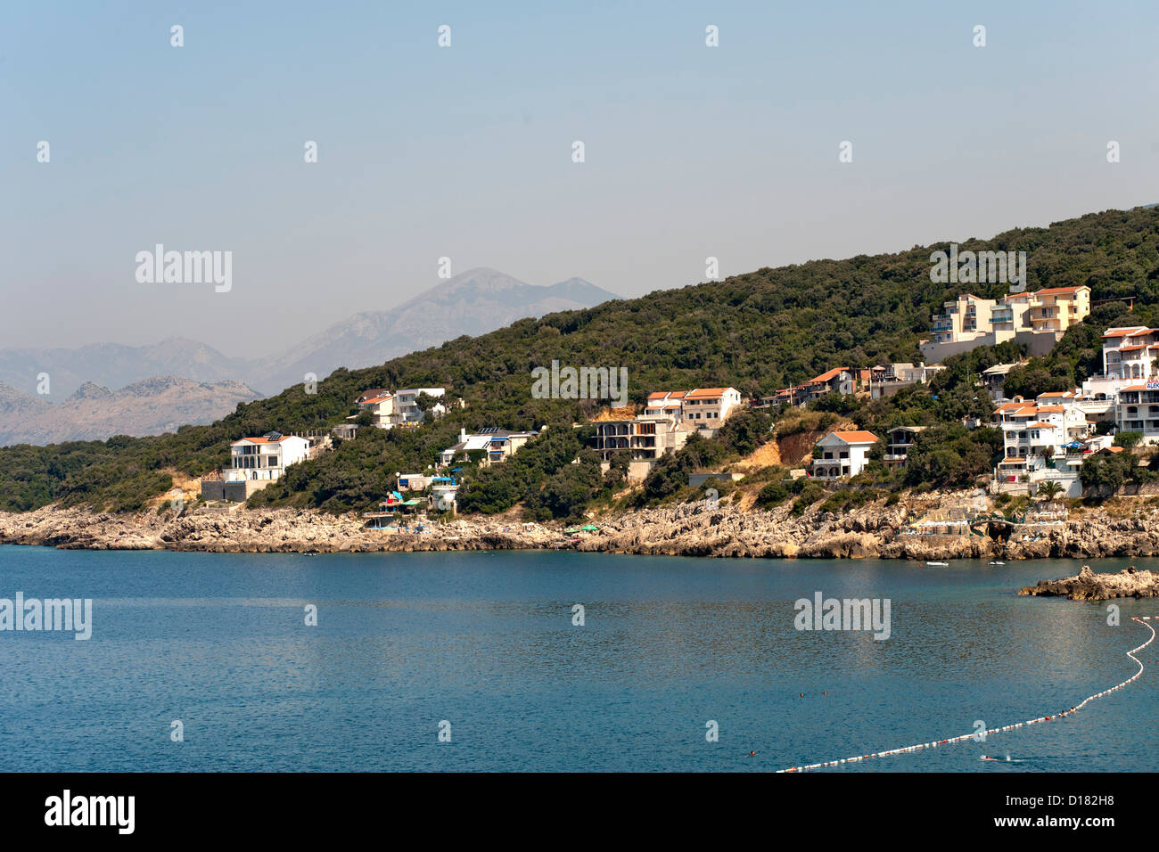 The Adriatic coastline along Montenegro's southern coast near the town of Bar. - Stock Image