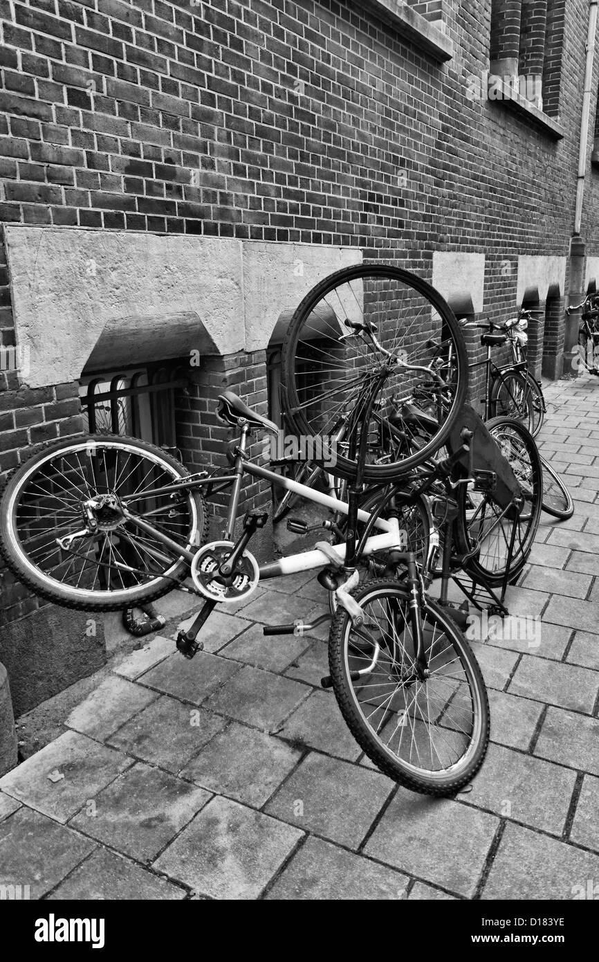 Holland, Amsterdam, bicycles parked in a central street - Stock Image