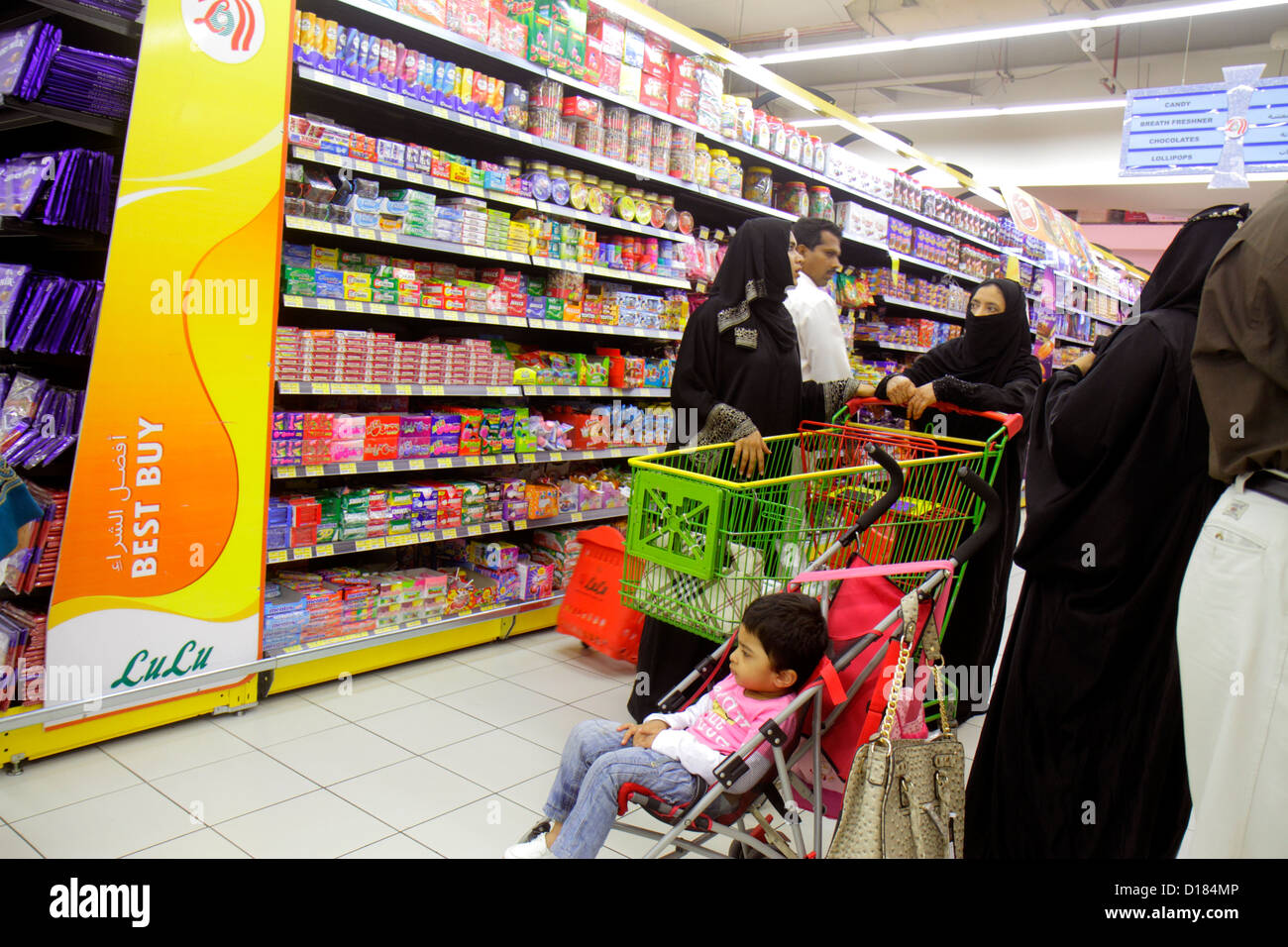 Dubai UAE United Arab Emirates U.A.E. Middle East Al Qusais LuLu Hyper Market shopping grocery store supermarket - Stock Image