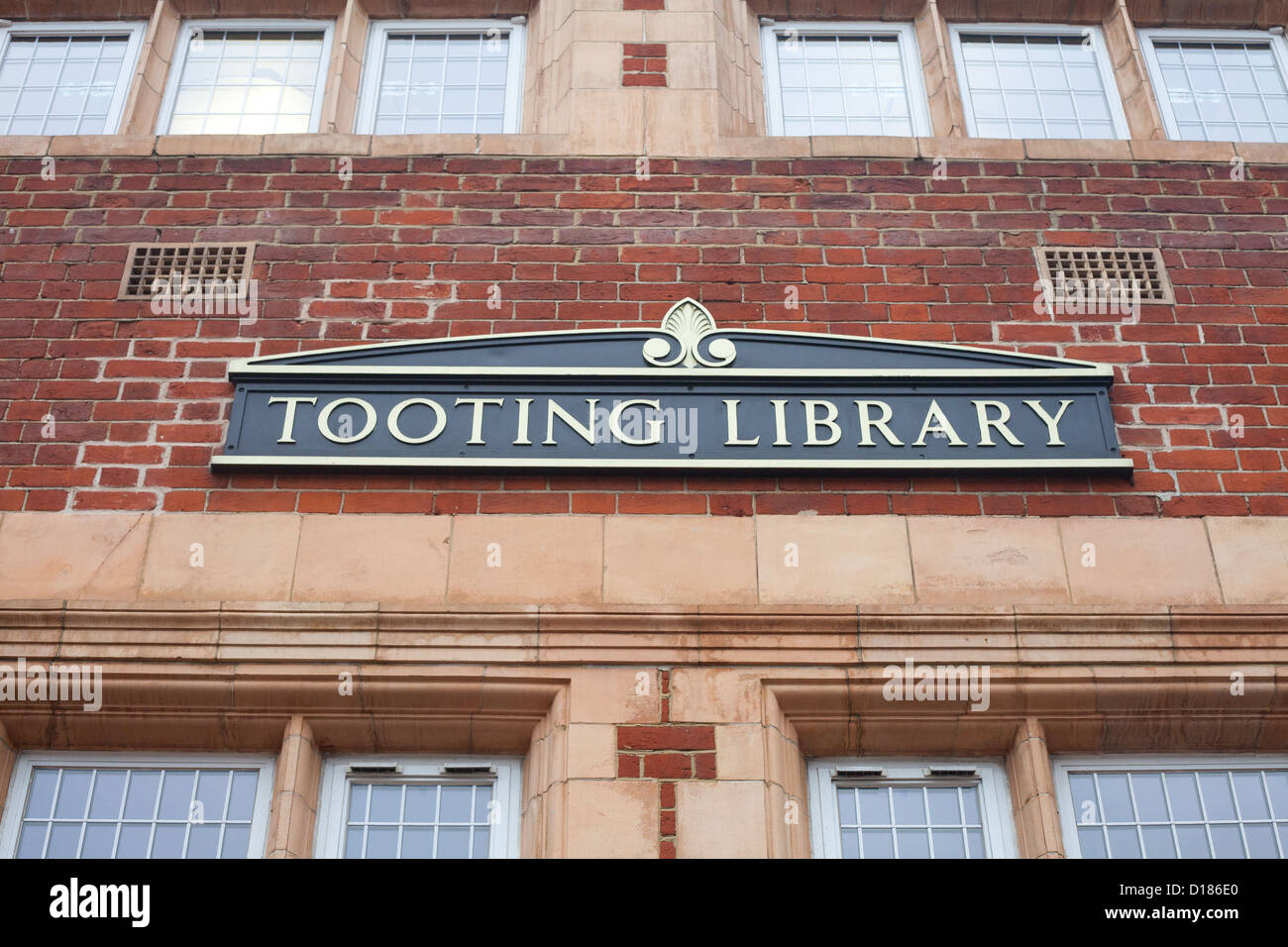 Tooting Library sign, in South West London, UK - Stock Image