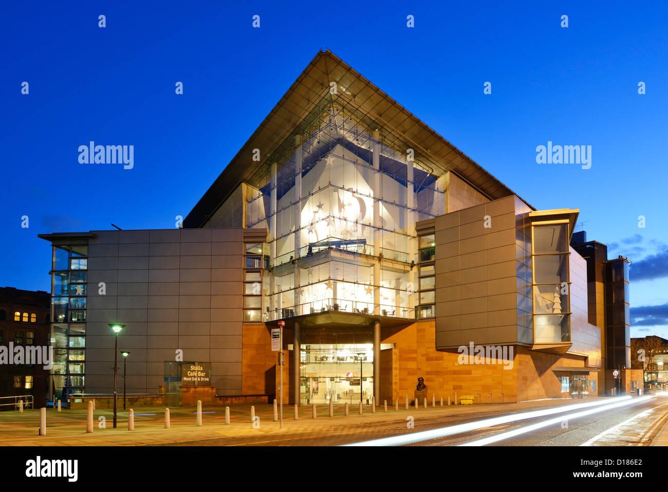 Bridgewater Hall Manchester City Centre at night - Stock Image