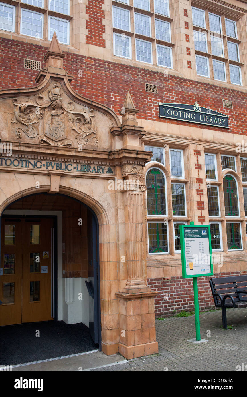 Entrance of Tooting Library  in South West London, UK - Stock Image