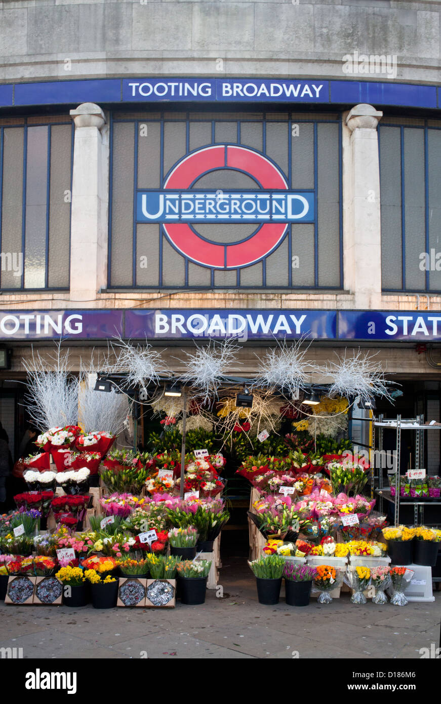 Exterior of Tooting Broadway underground station, London, before Christmas, 2012 - Stock Image