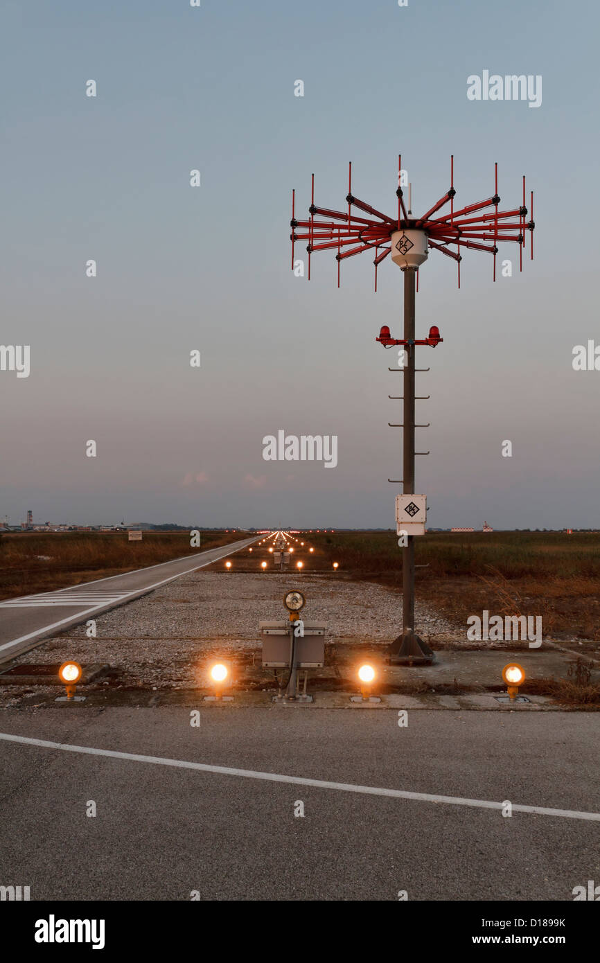 Italy venice international airport landing strip lights at sunset italy venice international airport landing strip lights at sunset mozeypictures Image collections
