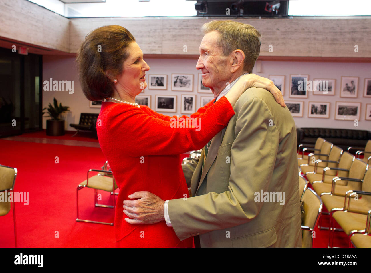 LBJ President daughters with Former U.S. Attorney General, lawyer and activist Ramsey Clark Stock Photo