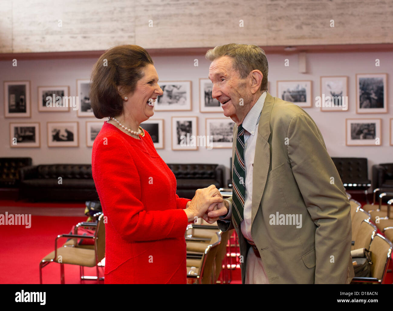 LBJ President daughter with Former U.S. Attorney General, lawyer and activist Ramsey Clark Stock Photo
