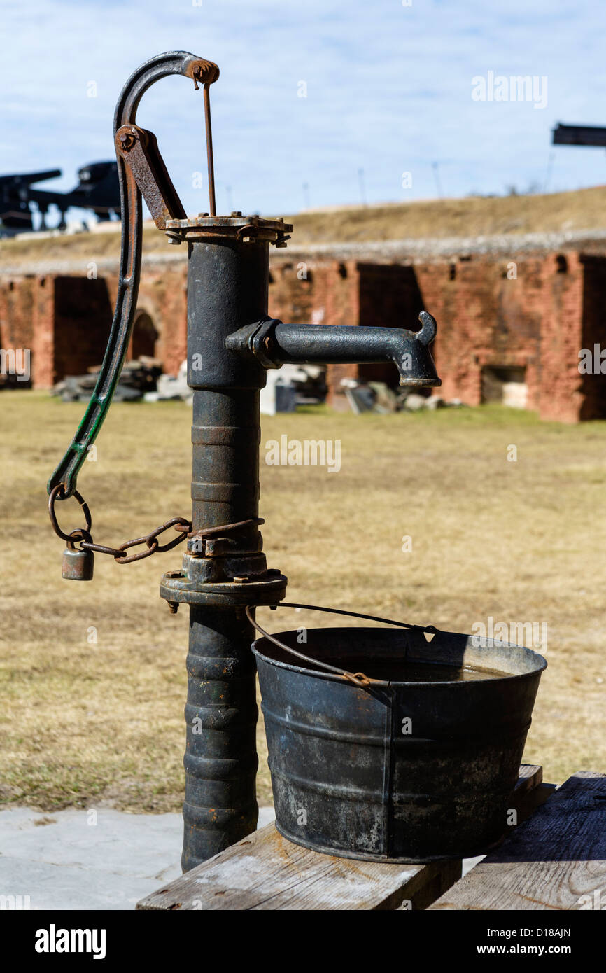 A well pump in Fort Clinch, Fort Clinch State Park, Fernandina Beach, Amelia Island, Florida, USA - Stock Image