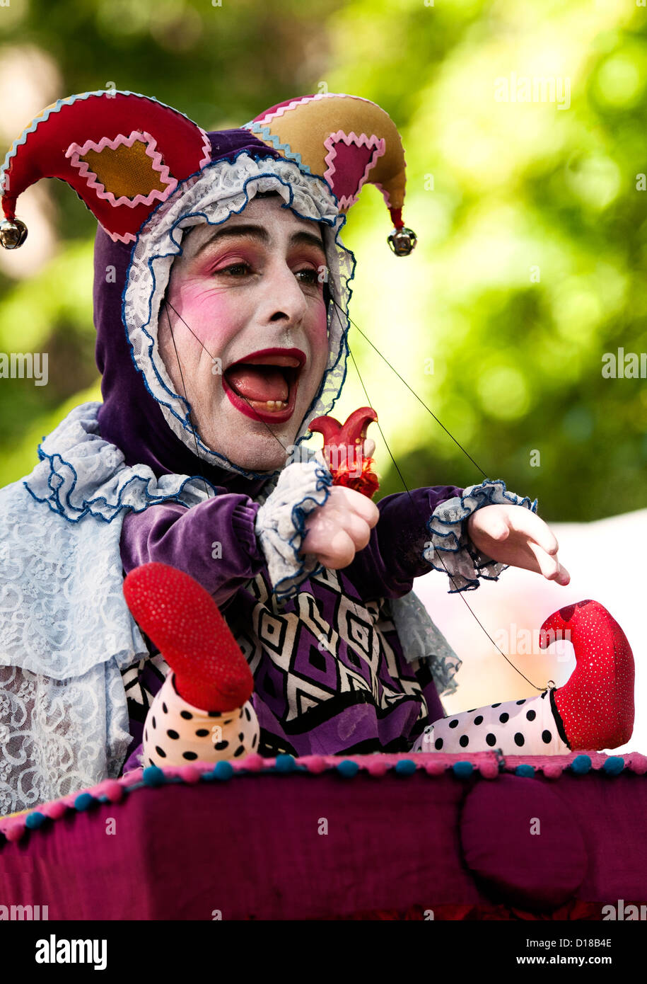 Gabriel Q, puppeteer costume and puppet builder at The Maryland Renaissance Festival 2012 Crownsville Road, Annapolis, - Stock Image