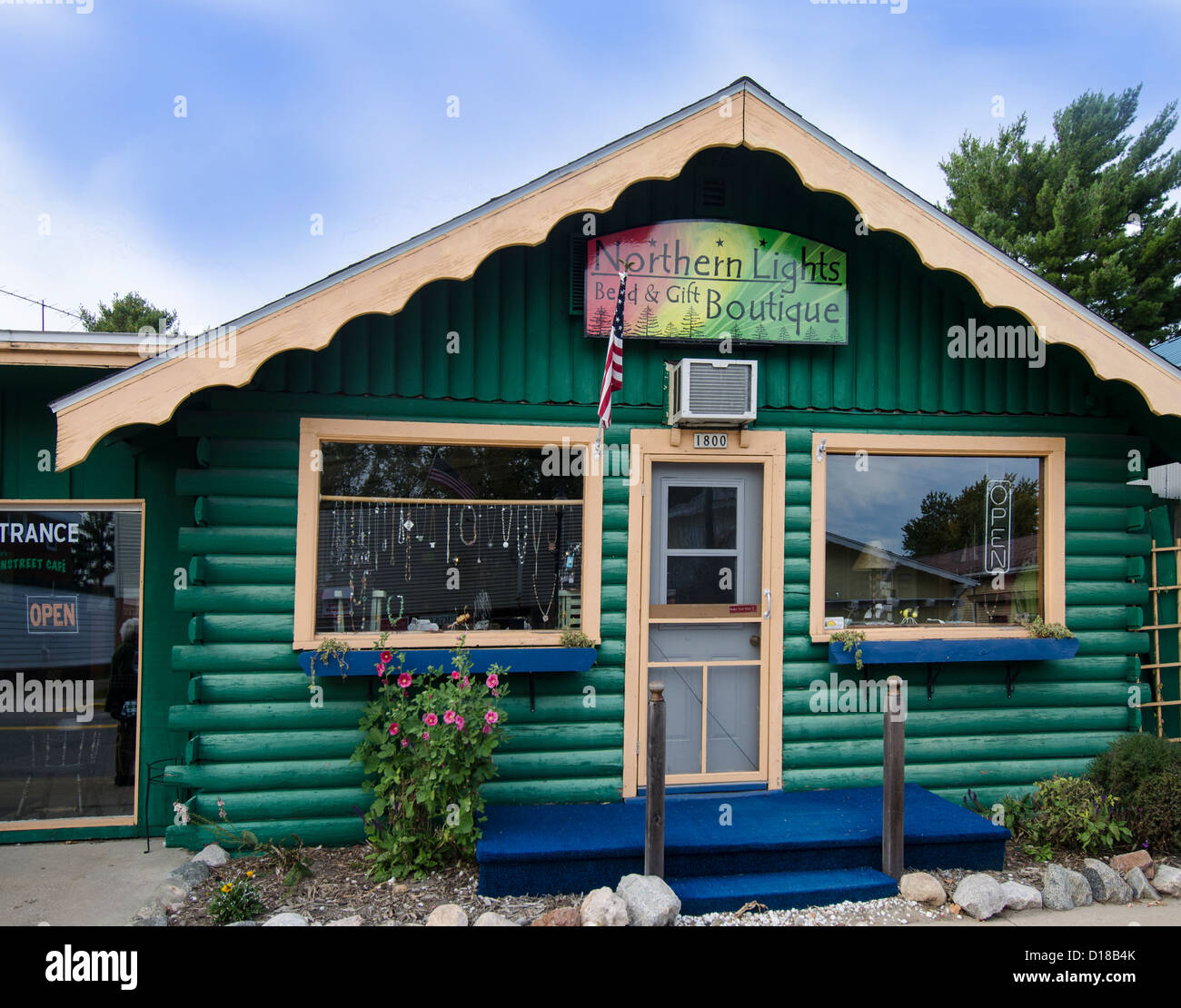Northern Lights Bead and Gift Boutique in the Northwoods town of Three Lakes, Wisconsin features jewelry made by - Stock Image