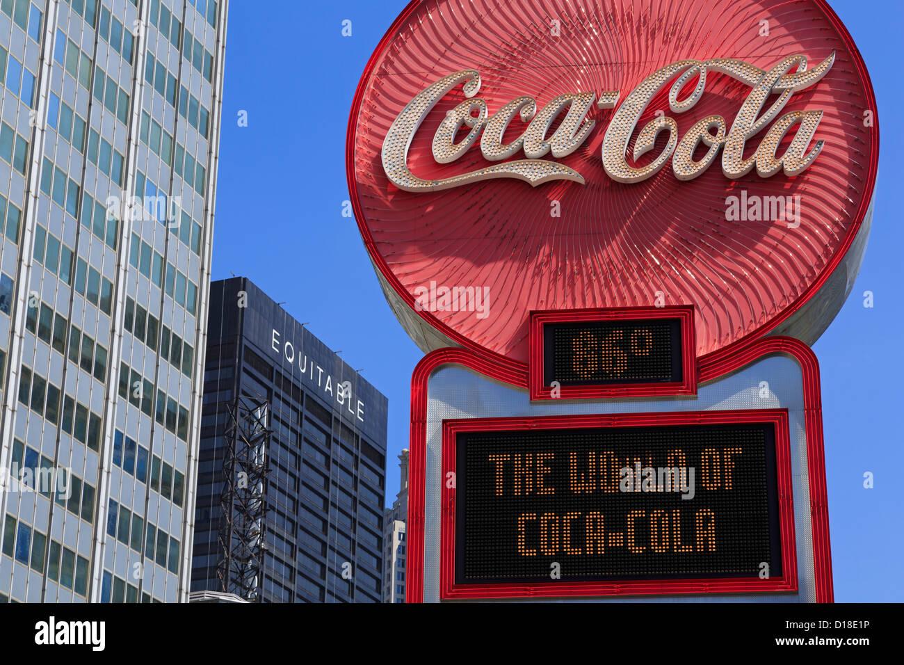 Coca - Cola sign on Peachtree Street,Atlanta,Georgia,USA - Stock Image