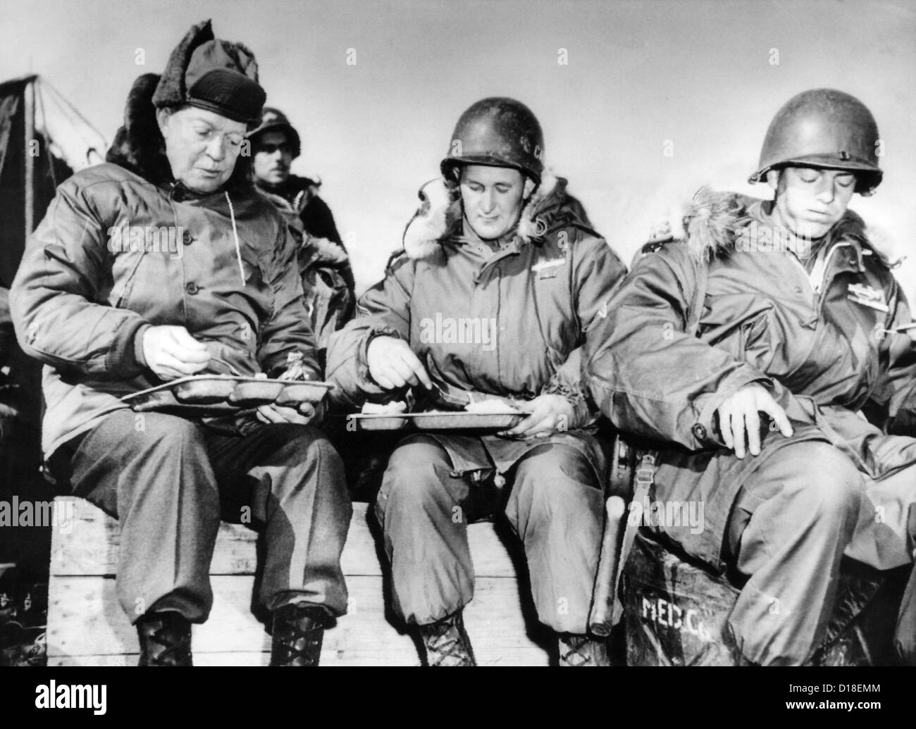 President Elect Dwight Eisenhower Eating With Soldiers In Korea On Dec 1 1952 One Of The Men Corporal James Murray Right