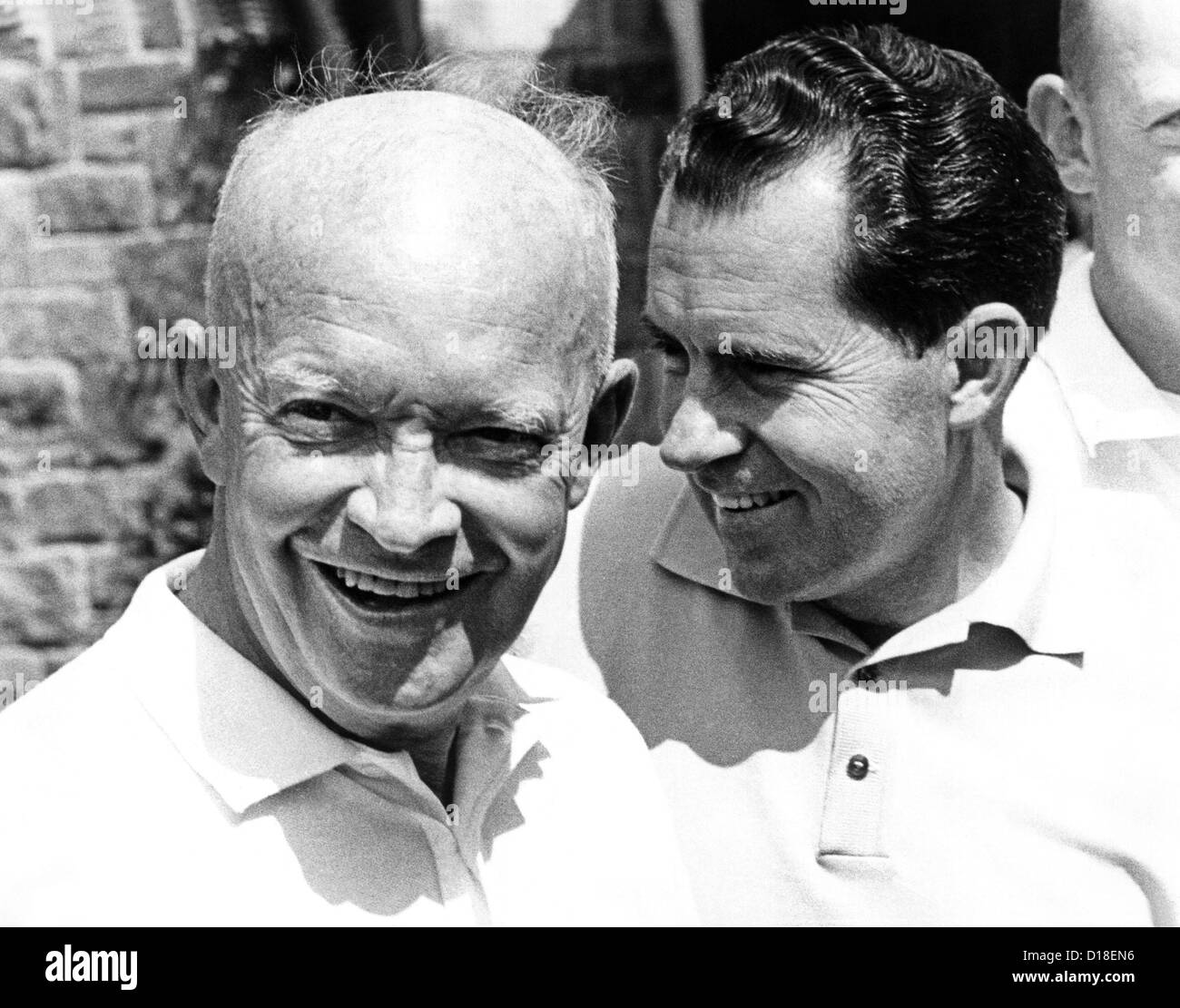 Former President Dwight Eisenhower and his Vice President, Richard Nixon meet to play golf. They breakfasted at - Stock Image