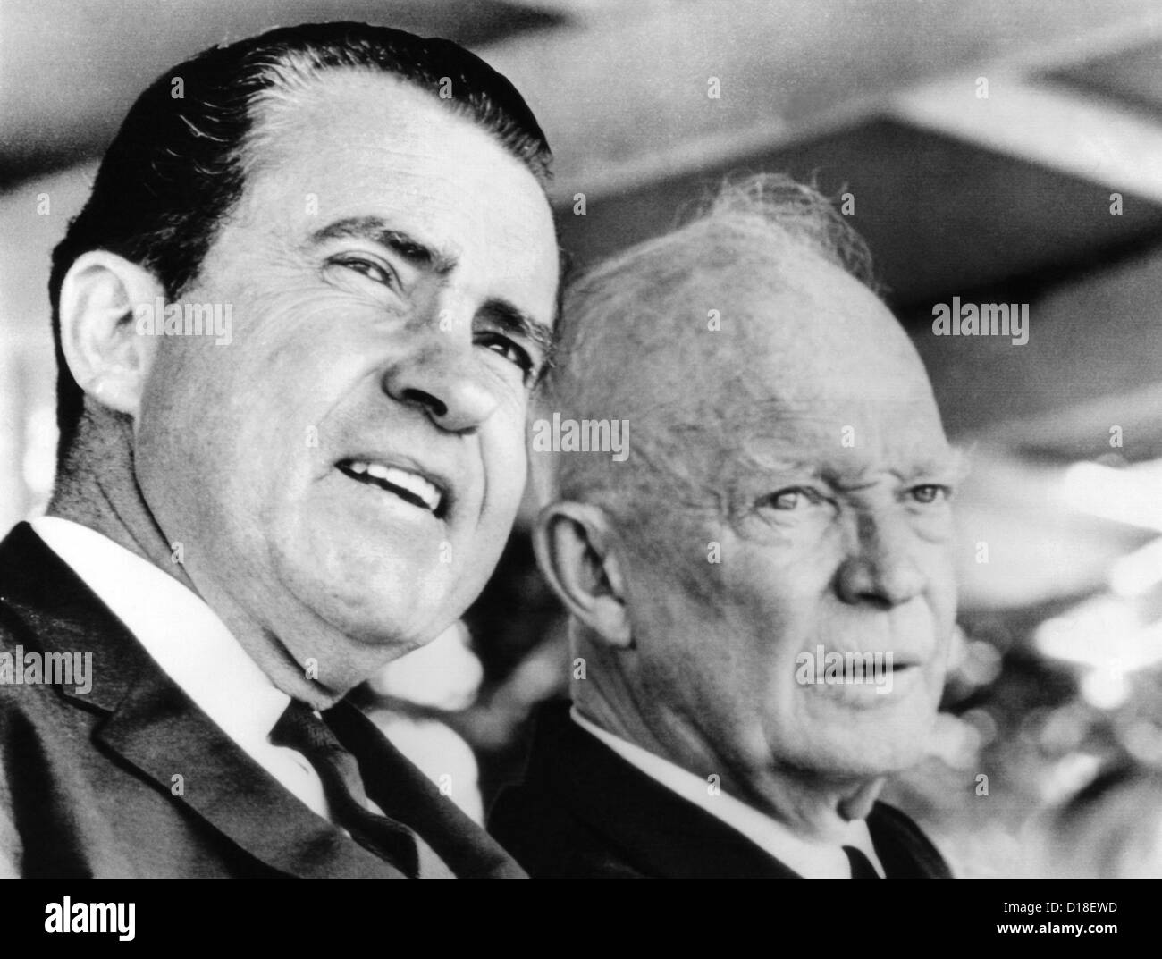 Former Vice President Richard Nixon and Former President Dwight Eisenhower at the Hoover 91st birthday remembrance. - Stock Image