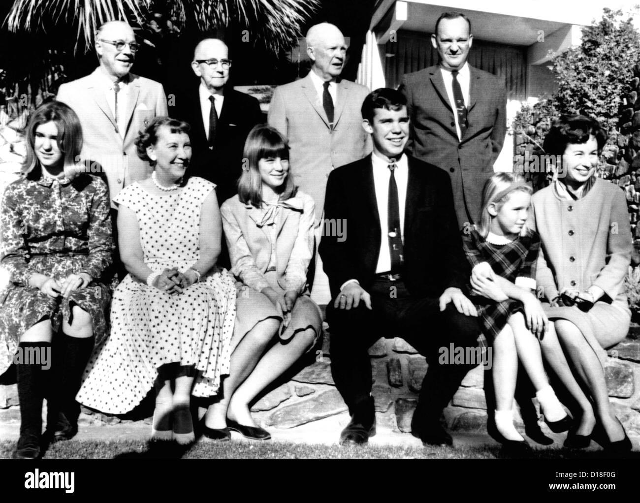 Dwight Eisenhower family portrait at El Dorado Country Club, Palm Desert, California. New Year's Day 1965. L - Stock Image
