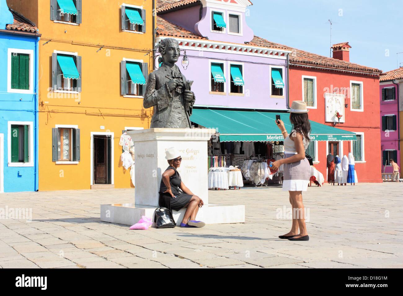 Memorial of Baldassaare Galuppi, Burano Island, Isola di Burano Island, Venice - Stock Image