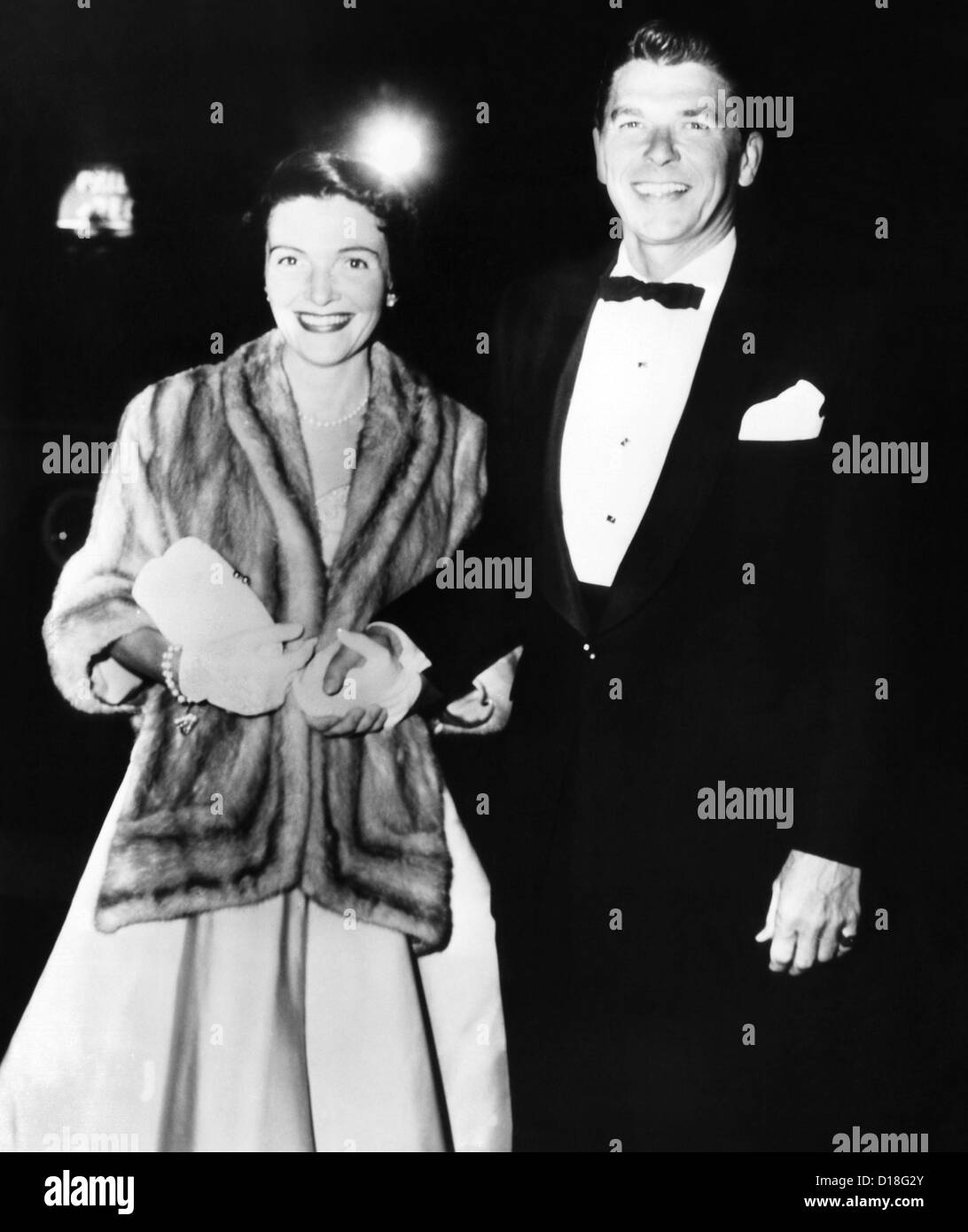 Ronald and Nancy Reagan attended the movie premiere of 'The High and the Mighty' in 1954 at Hollywood's - Stock Image