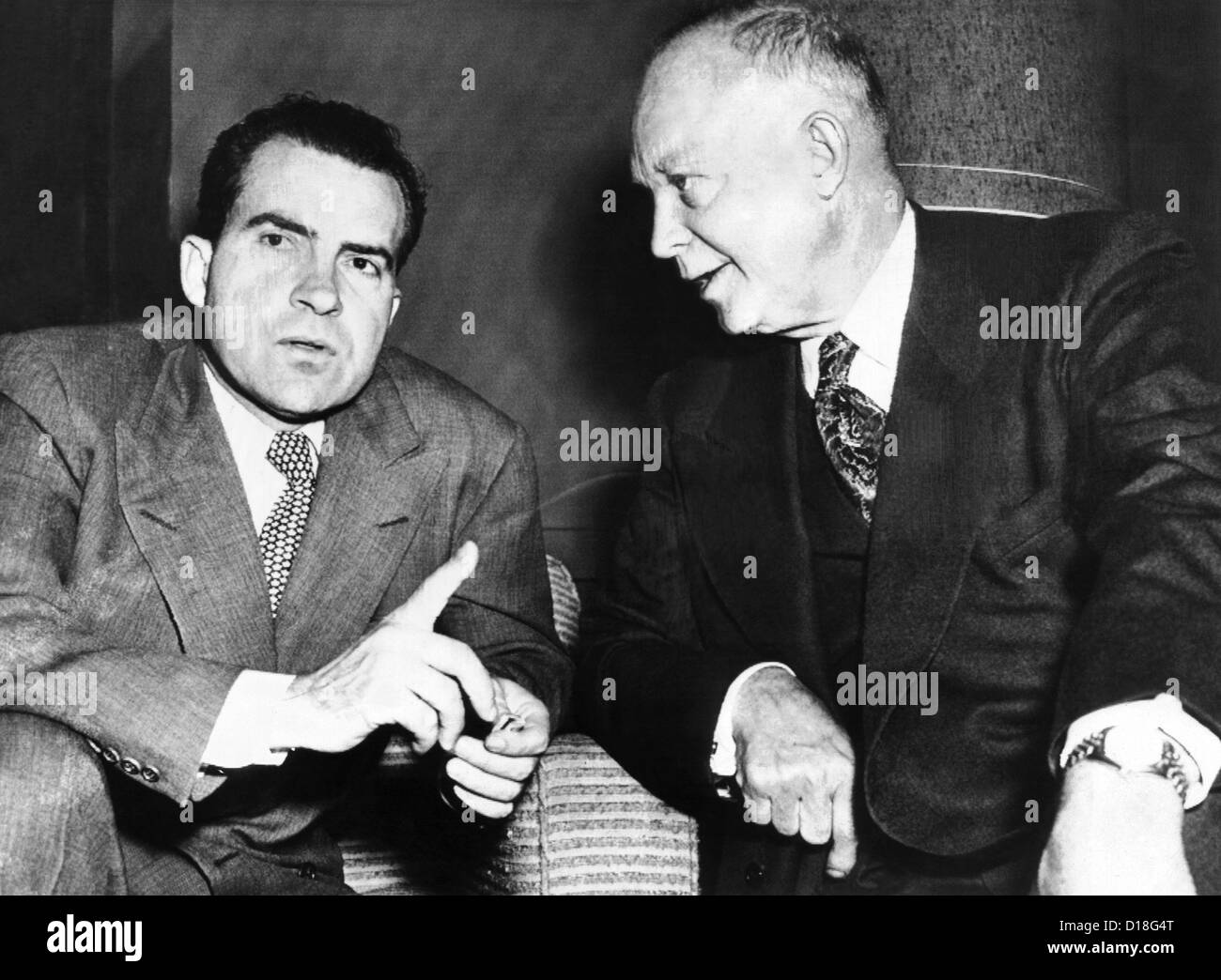 General Dwight Eisenhower with his running mate, Senator Richard Nixon. Two days later they defeated their Democratic - Stock Image