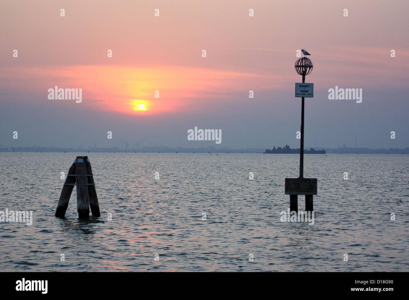 Sunset, Venetian Lagoon - Stock Image