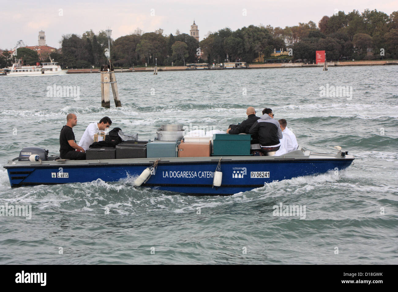 Catering service on the way to Isola di San Servolo. - Stock Image