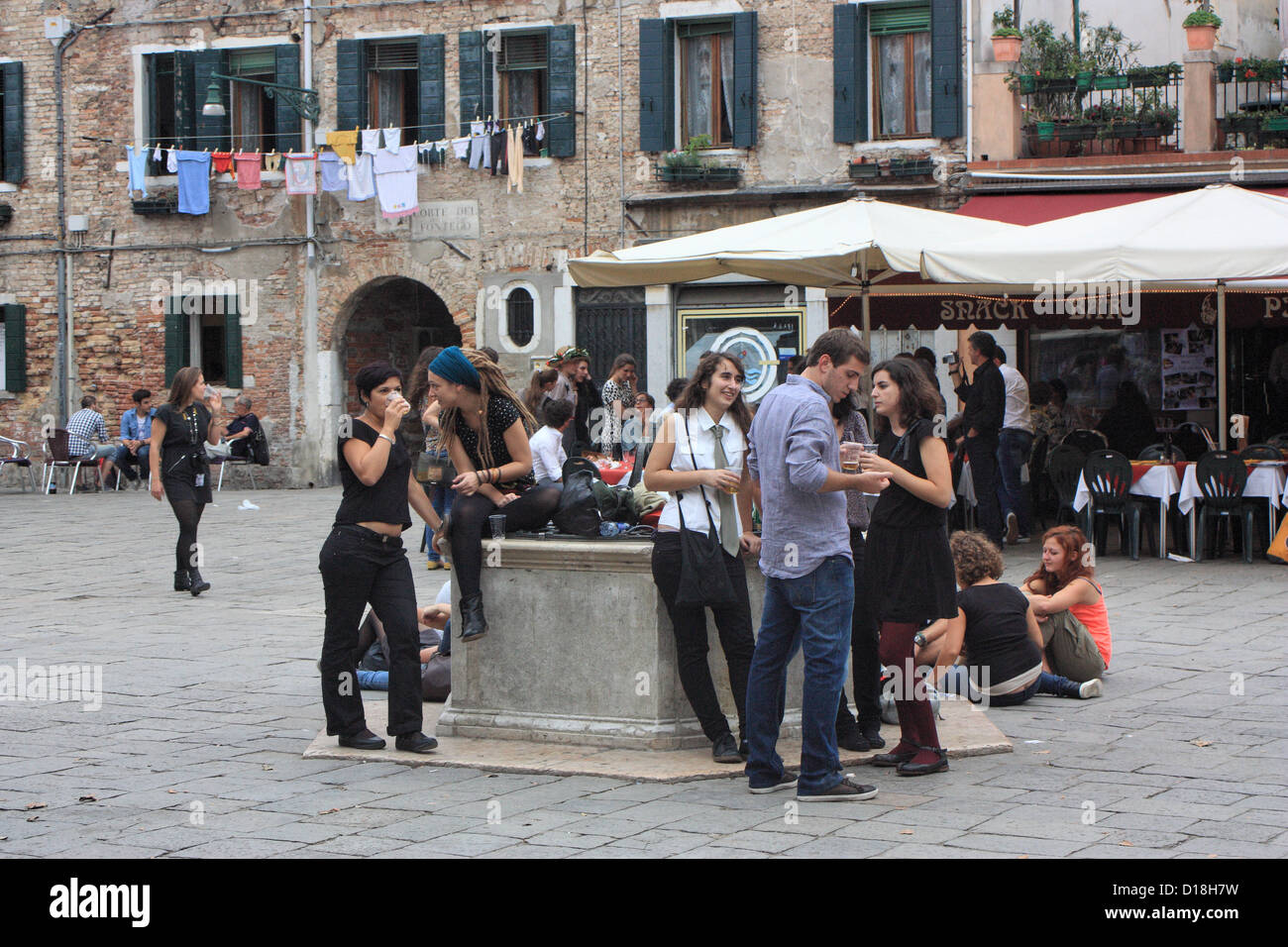 Students nightlife party at campo Santa Margherita, Venice, Italy - Stock Image