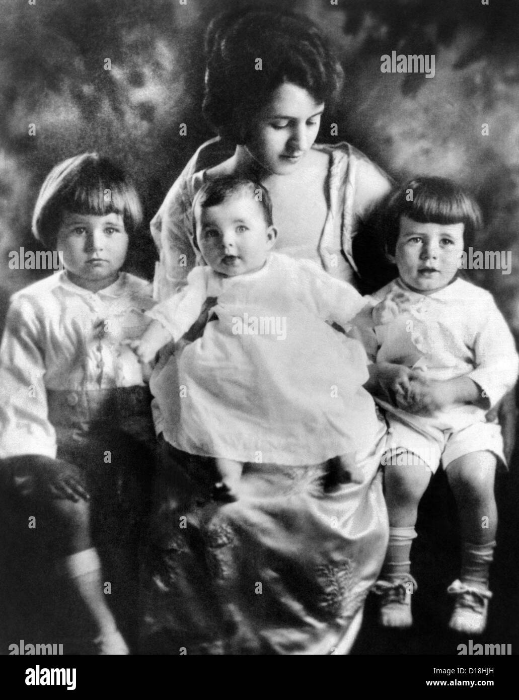 Rose Kennedy with her three eldest children. Joseph Jr. (left), Rosemary (center), and John. Ca. 1919. (CSU_ALPHA - Stock Image