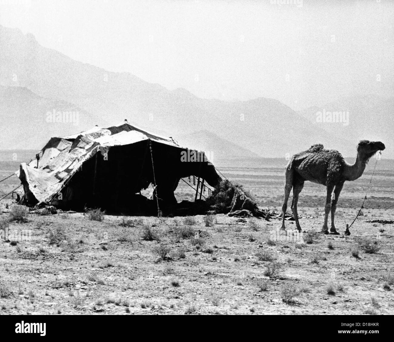 Nomadic tents can be seen in a mountainous area outside of Kabul, Afghanistan. Sept. 17, 1971. (CSU ALPHA 1060) Stock Photo