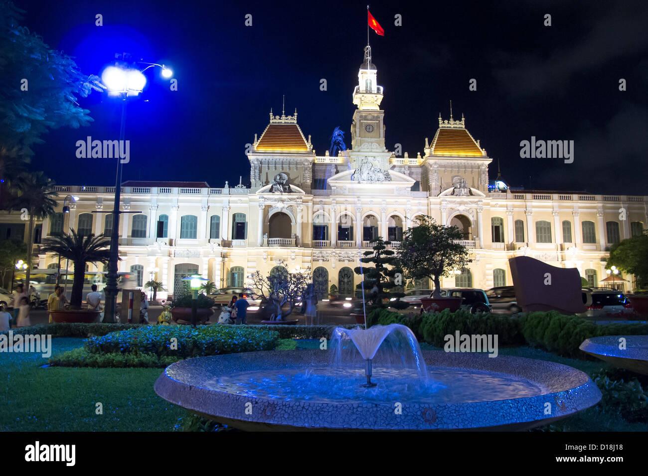 Park opposite City Hall (People's Committee Building) in Vietnam. - Stock Image