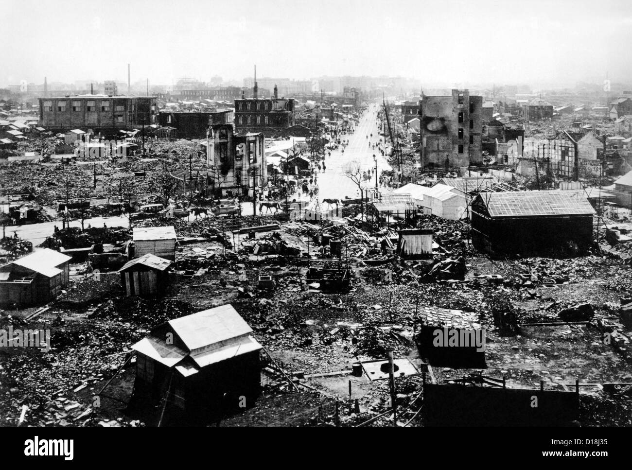 Tokyo in ruins after the 1923 earthquake. Image shows Tokyo Station and Hibiya Park. There were 105,385 confirmed Stock Photo