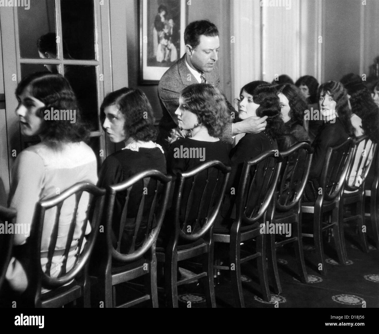 J.R. Hirschfield of Detroit choosing models for American Styles Creation Contest. Aug. 30, 1927. (CSU ALPHA 1231) Stock Photo
