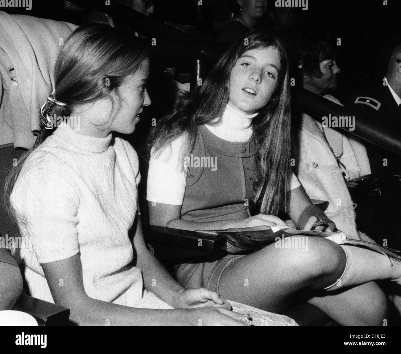 Caroline Kennedy, almost 14 years old, with a friend at the National Horse Show at Madision Square Garden. Nov. Stock Photo