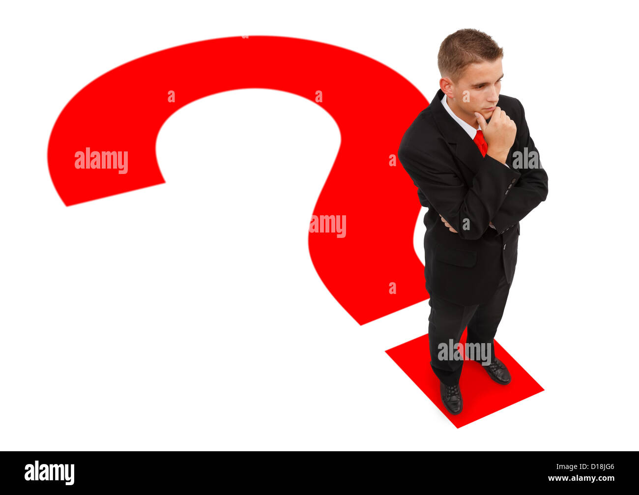 Businessman standing on question mark's point and thinking - Stock Image