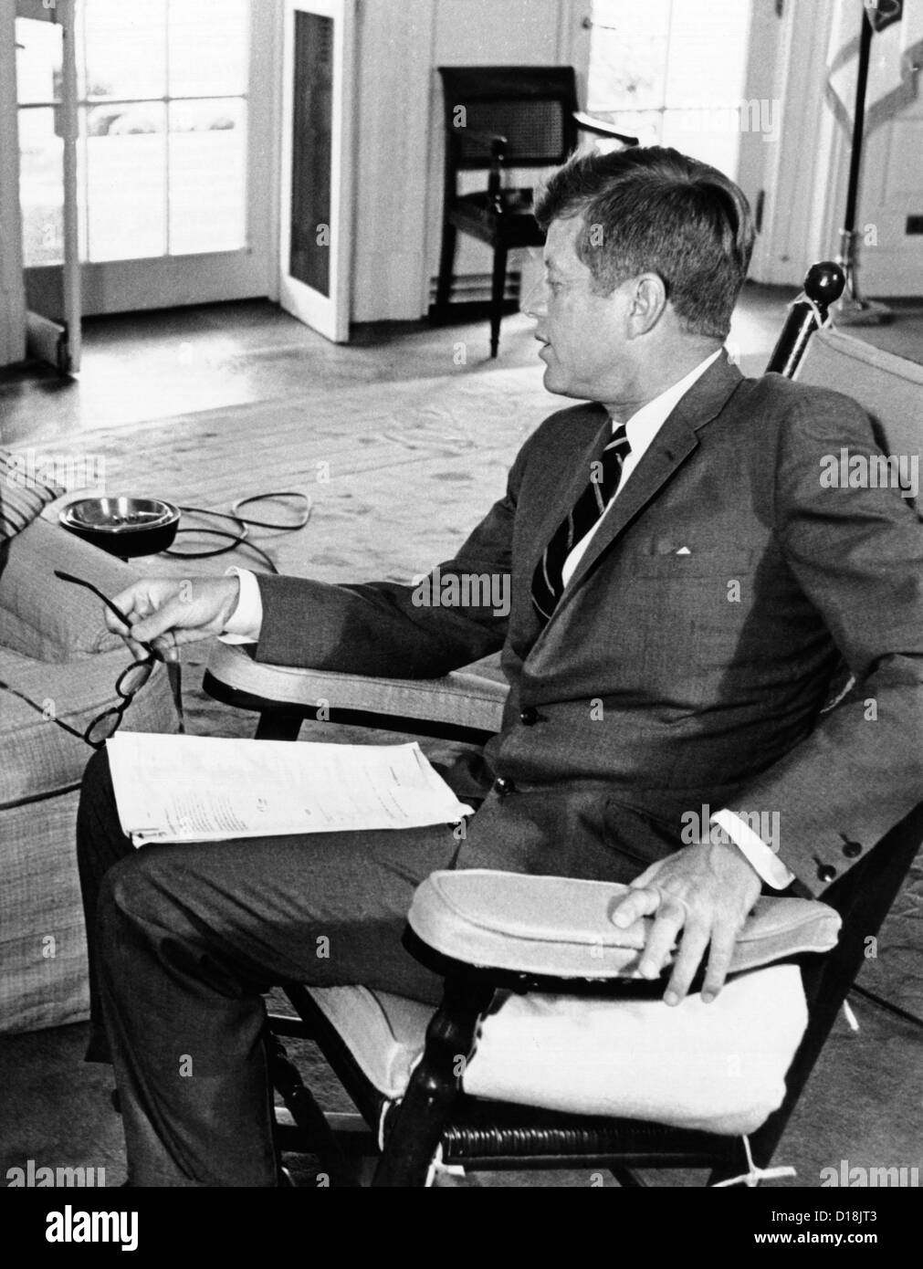 jfk in oval office. President John Kennedy In His Oval Office Rocking Chair. The Chair Relieved Tension JFK\u0027s Injured Lower Back By Keeping Jfk