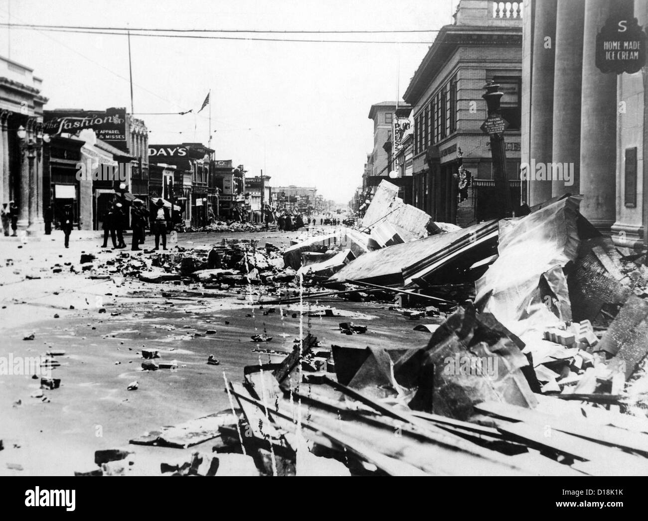 Santa Barbara earthquake of 1925 registered 6.8 on the Richter scale. Major damage occurred in the city and killed - Stock Image