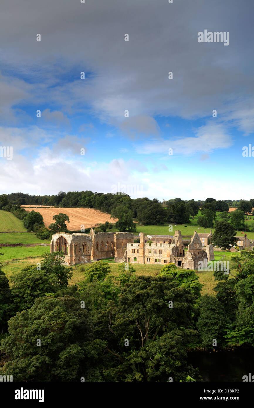 The ruins of Egglestone Abbey, near Barnard Castle Town, Teesdale, Durham County, England, Britain, UK Stock Photo