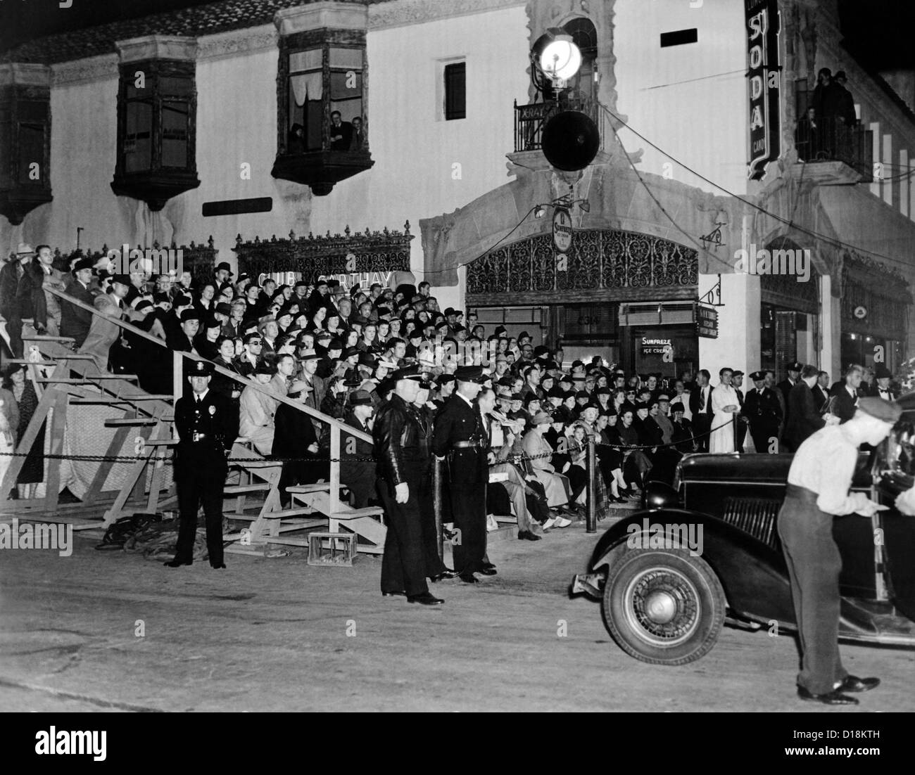 Grand stand built for Hollywood premiere of 'Lloyds of London'. It was built so movie fans could watch as - Stock Image