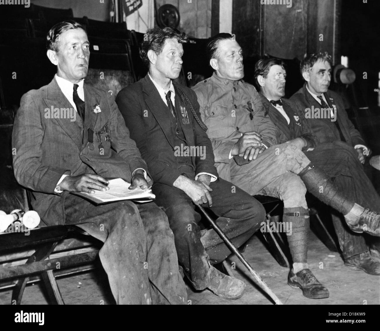 Wounded and decorated Veterans at Bonus Army Convention. They are among 1,200 from the Bonus Camp at Ft. Hunt, Virginia - Stock Image
