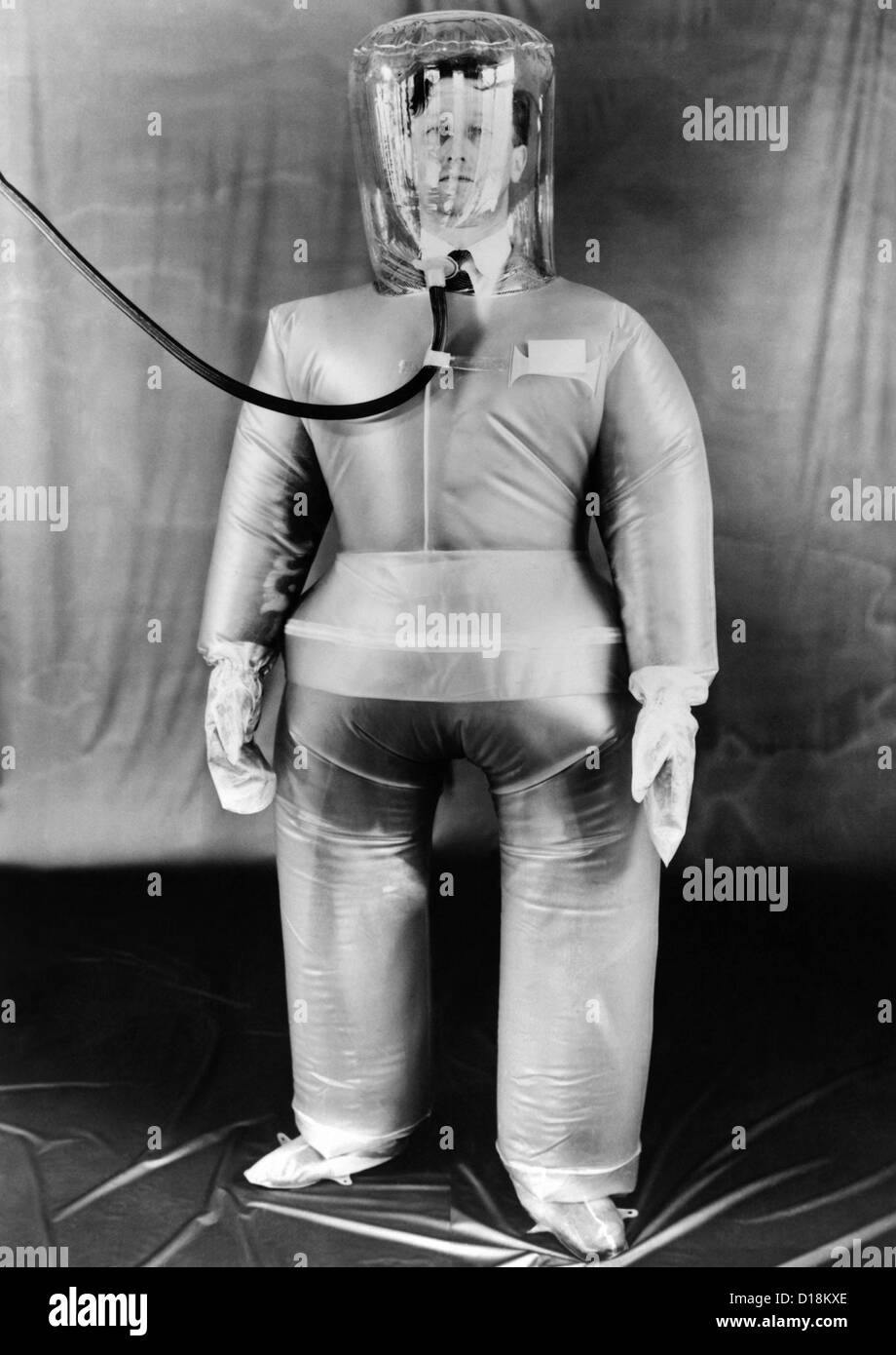 Plastic protective outfit filled with compressed air. It was designed to protect British Atomic energy workers against - Stock Image