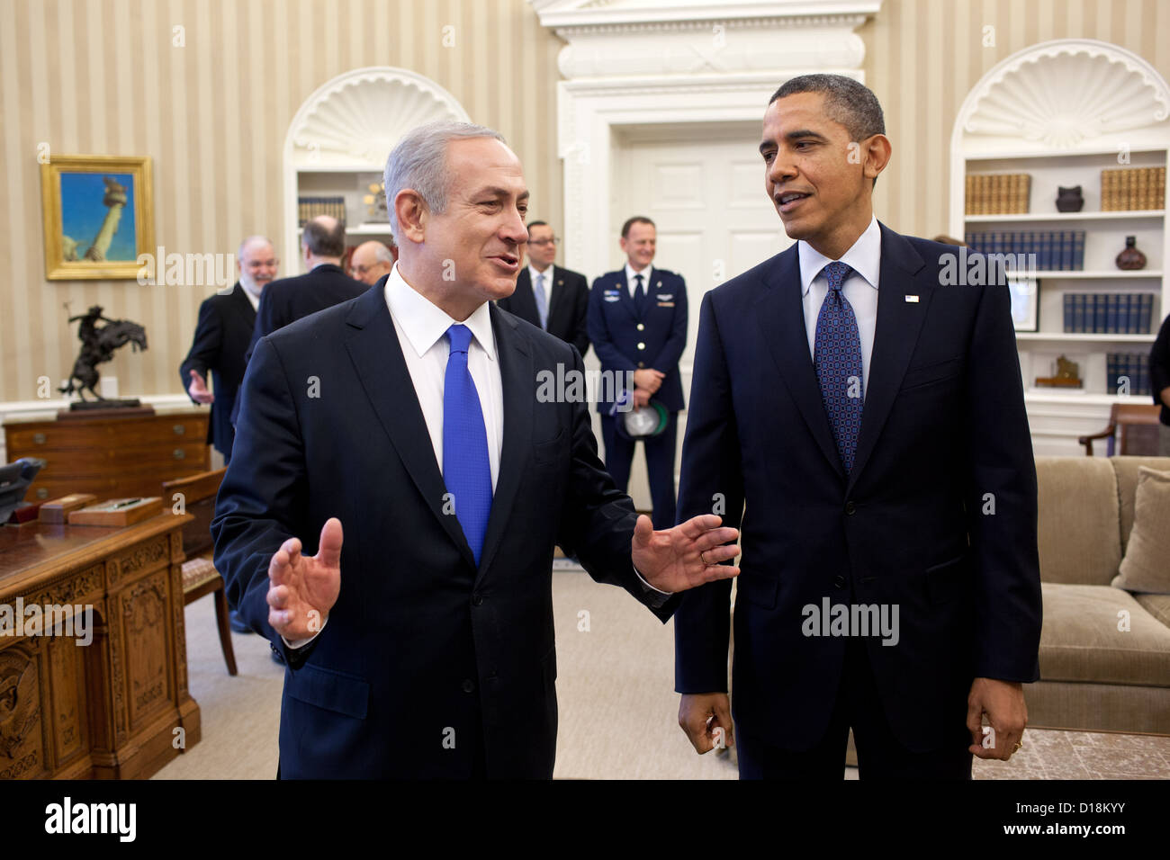 President Barack Obama and Prime Minister Benjamin Netanyahu of Israel talk before their bilateral meeting in the - Stock Image