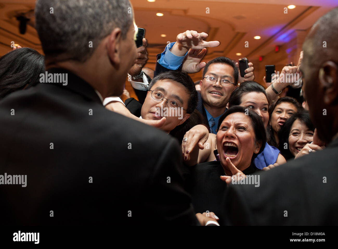 President Barack Obama greets people in the audience after delivering the keynote address at the Asian Pacific American - Stock Image