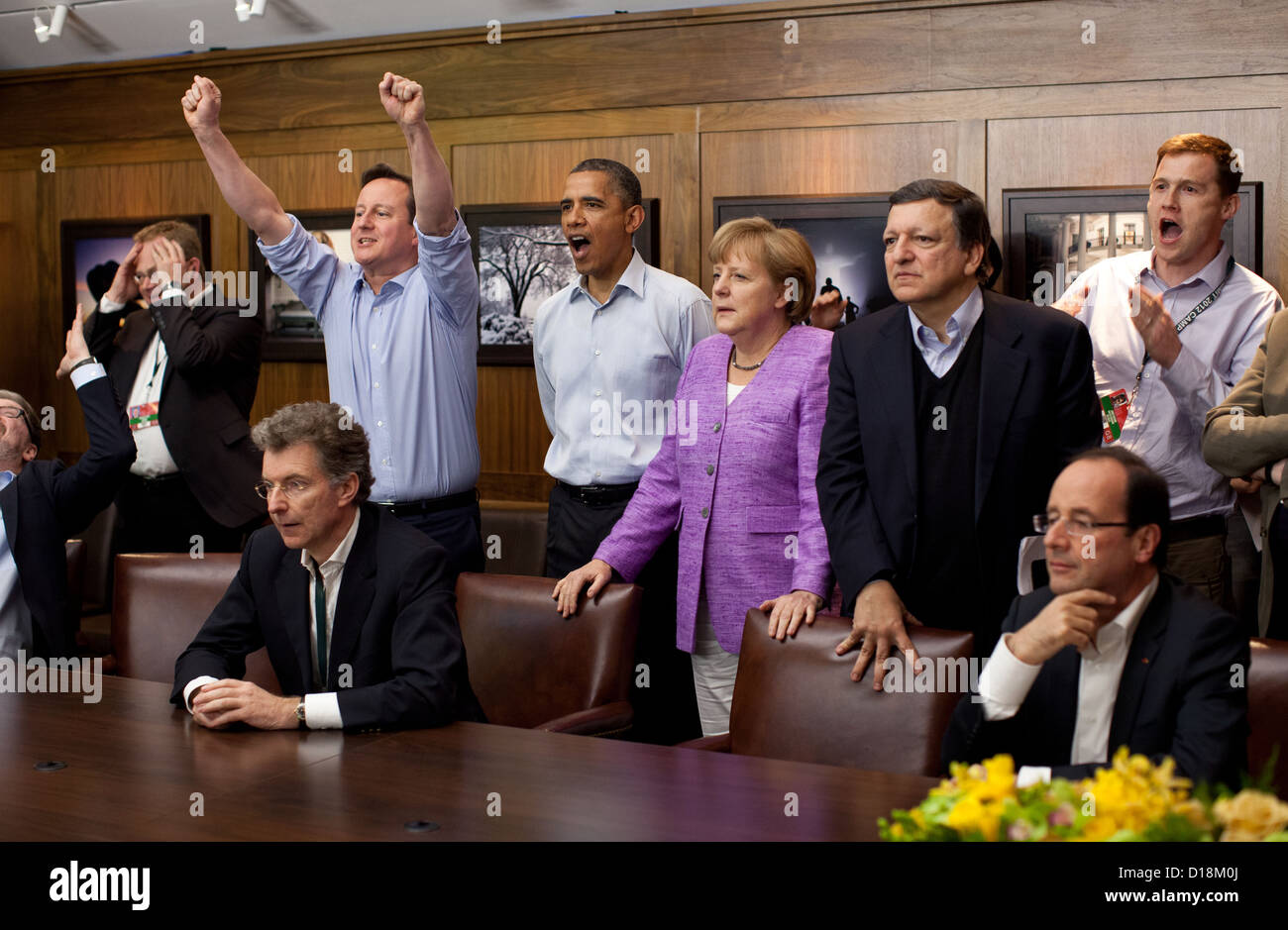 Prime Minister David Cameron of the United Kingdom, President Barack Obama, Chancellor Angela Merkel of Germany, - Stock Image