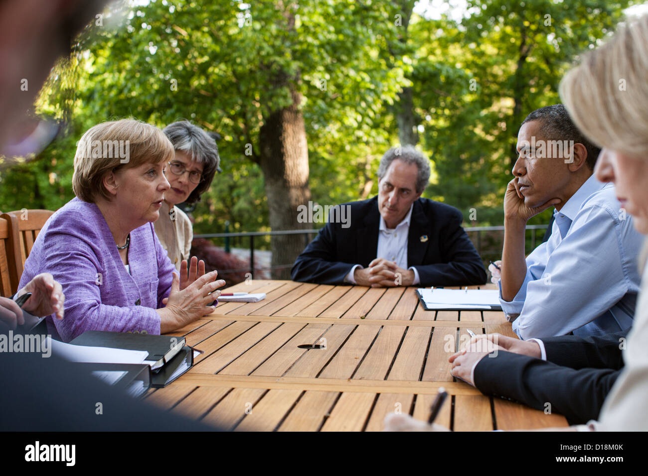 President Barack Obama and Chancellor Angela Merkel of Germany participate in a bilateral meeting on the Aspen Cabin - Stock Image