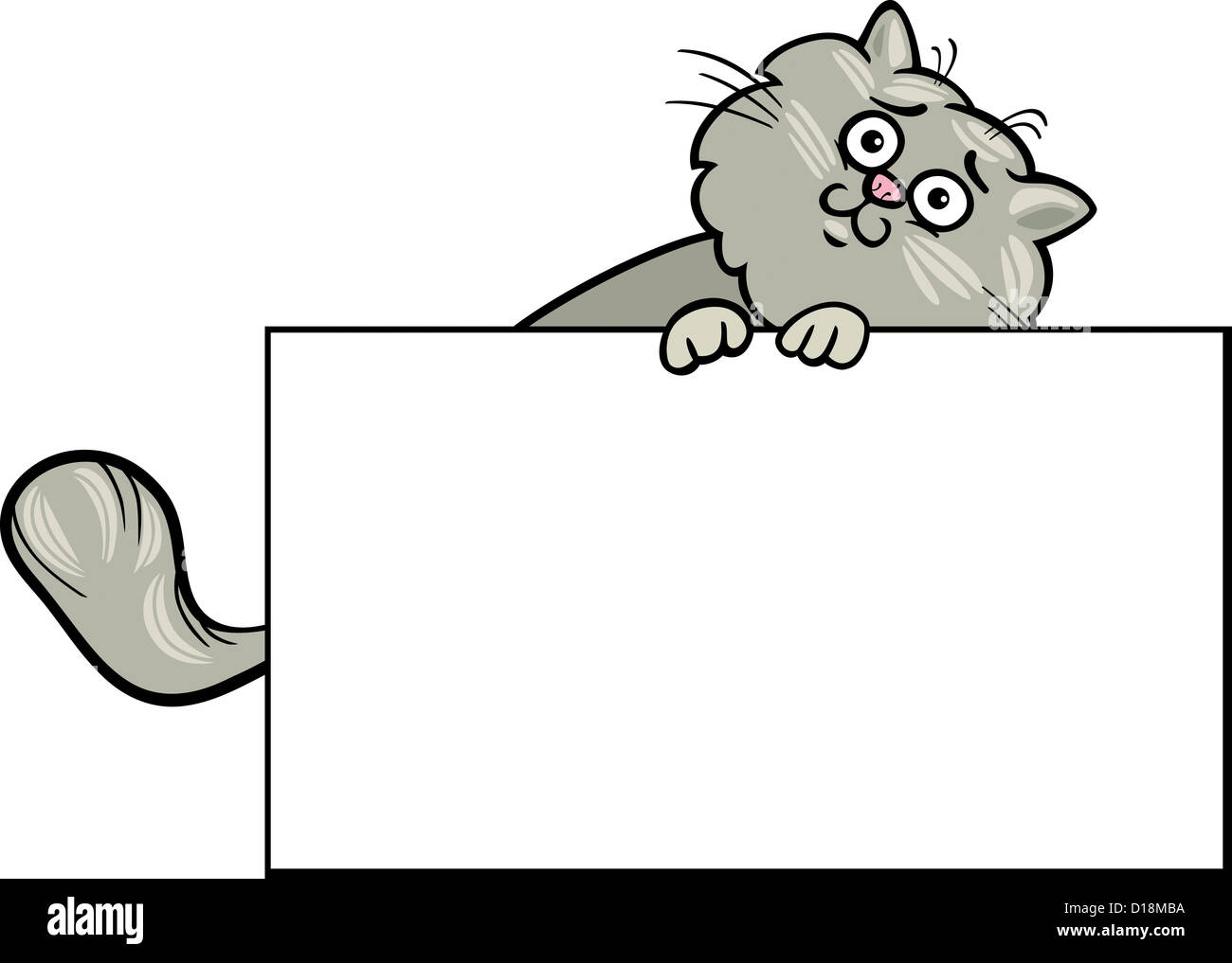 Cartoon Illustration of Funny Fluffy Cat with White Card or Board ...