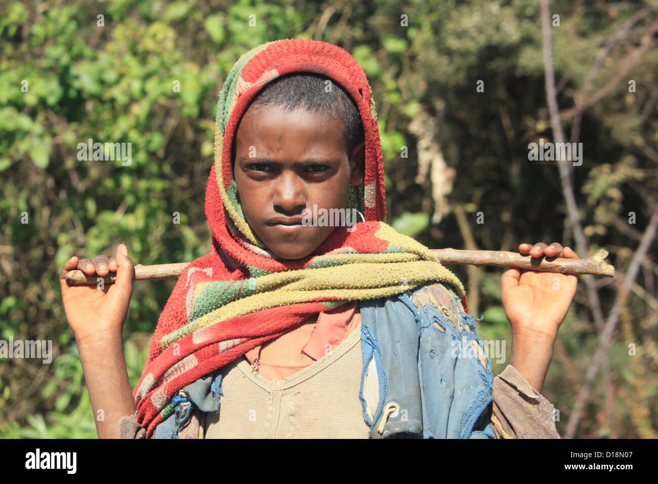 Africa, Ethiopia, Simien mountains portrait of a local boy - Stock Image