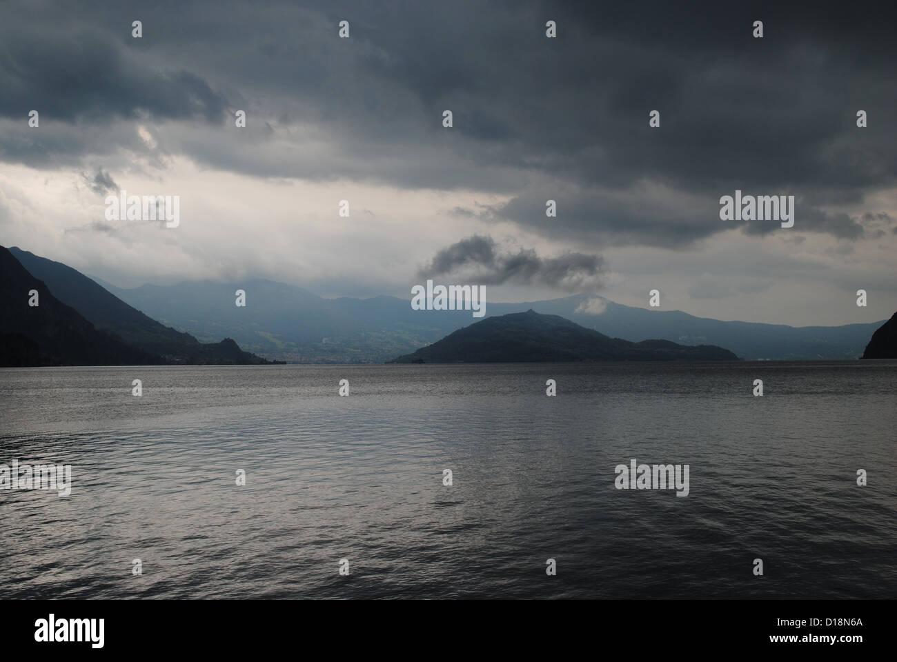 Monte isola view in a rainy day. - Stock Image