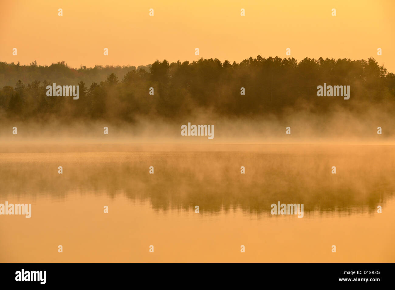 Morning mists at dawn on Ruth Lake, Three Lakes, Michigan, USA - Stock Image