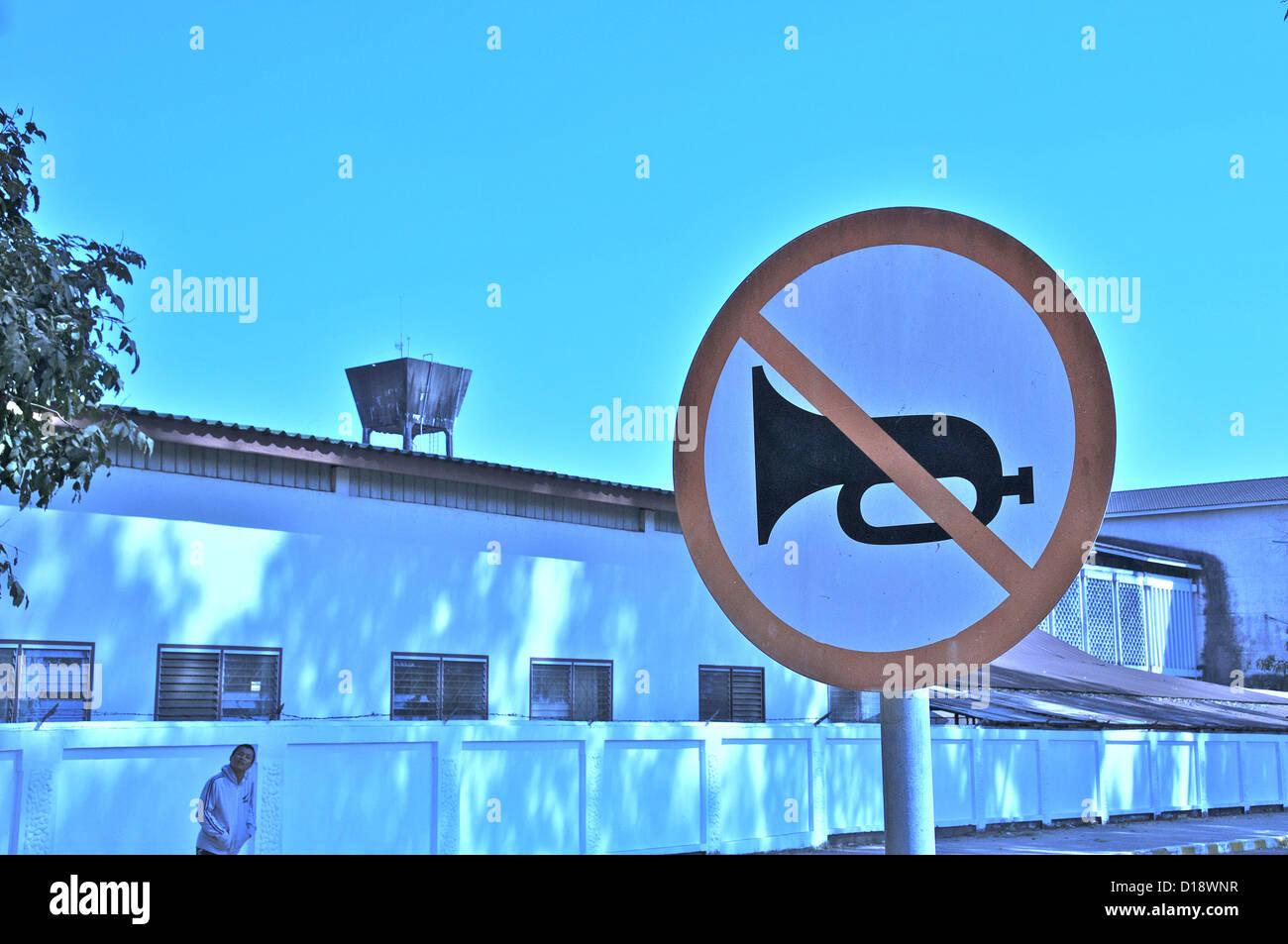 road sign defense of honk Vientiane Laos - Stock Image
