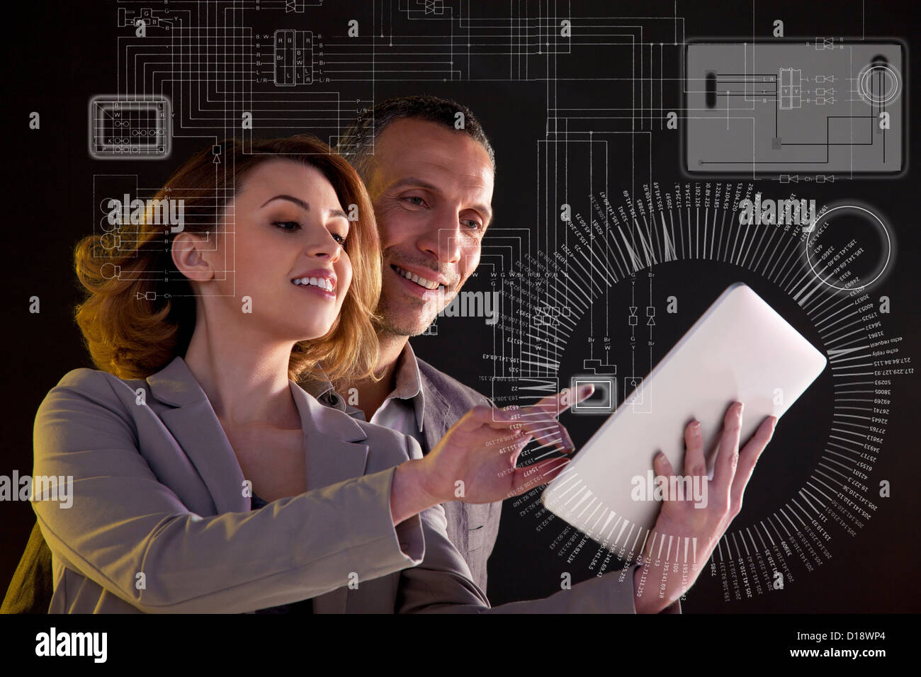 Business people with digital tablet and technological diagram - Stock Image