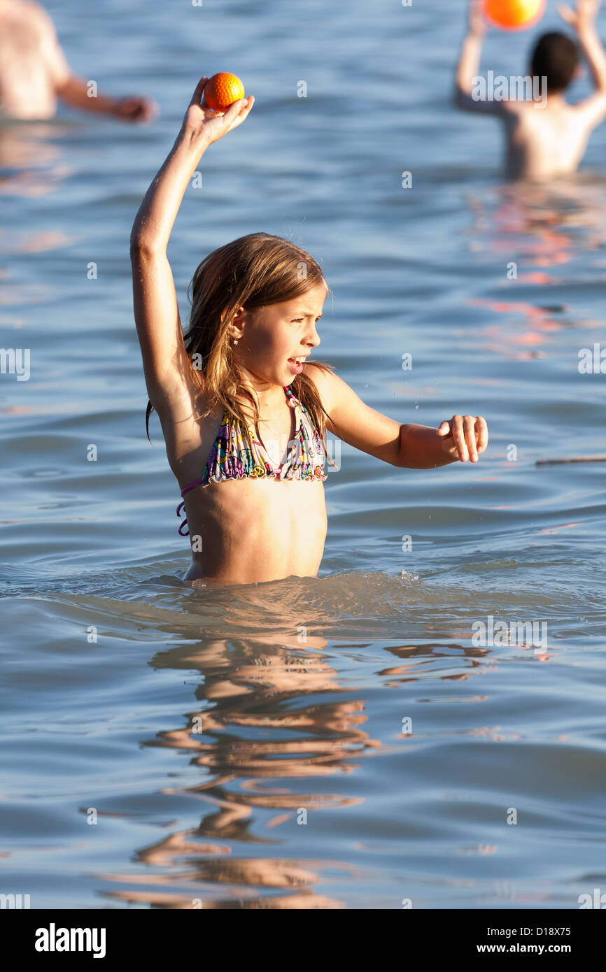 Cute Little Girl Playing On The Beach Stock Photo 52441961 Alamy