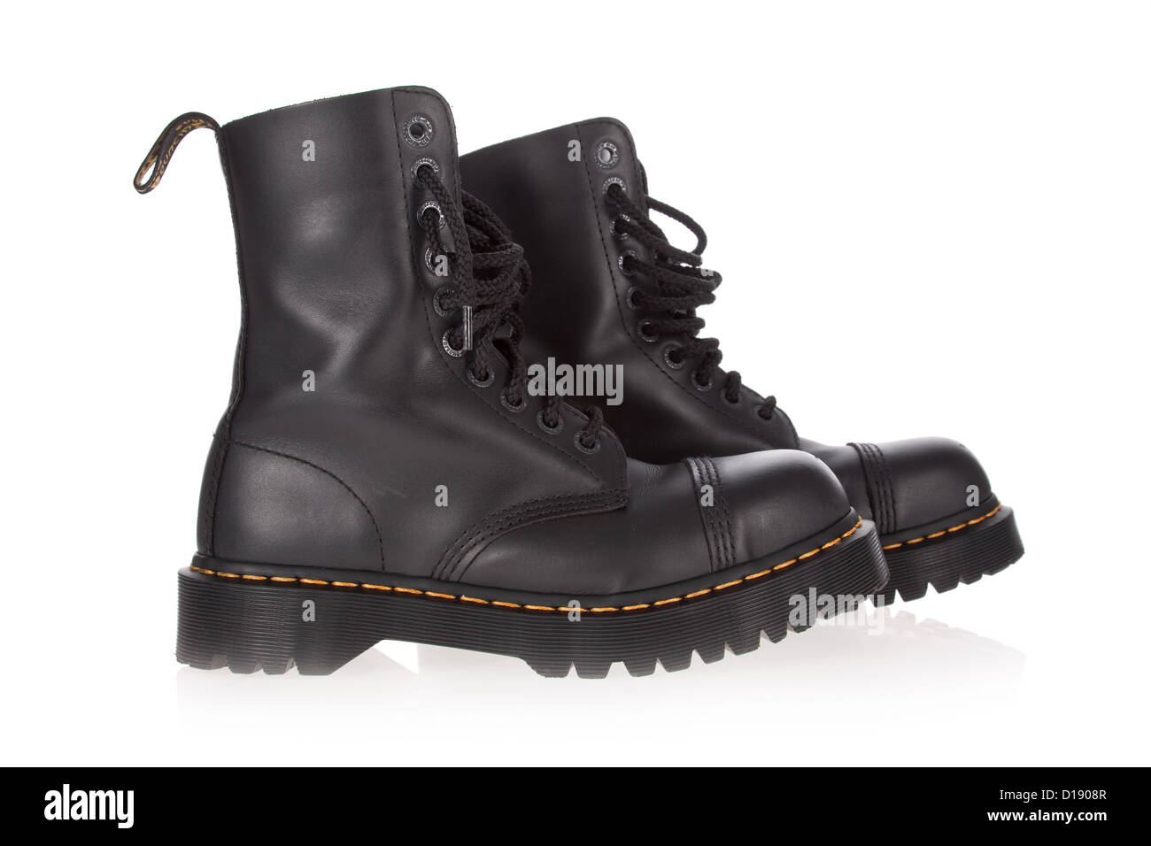 Dr Martens boots (8761 model) isolated on white background. /// cutout doc black pair steel toe cut out Work leather - Stock Image