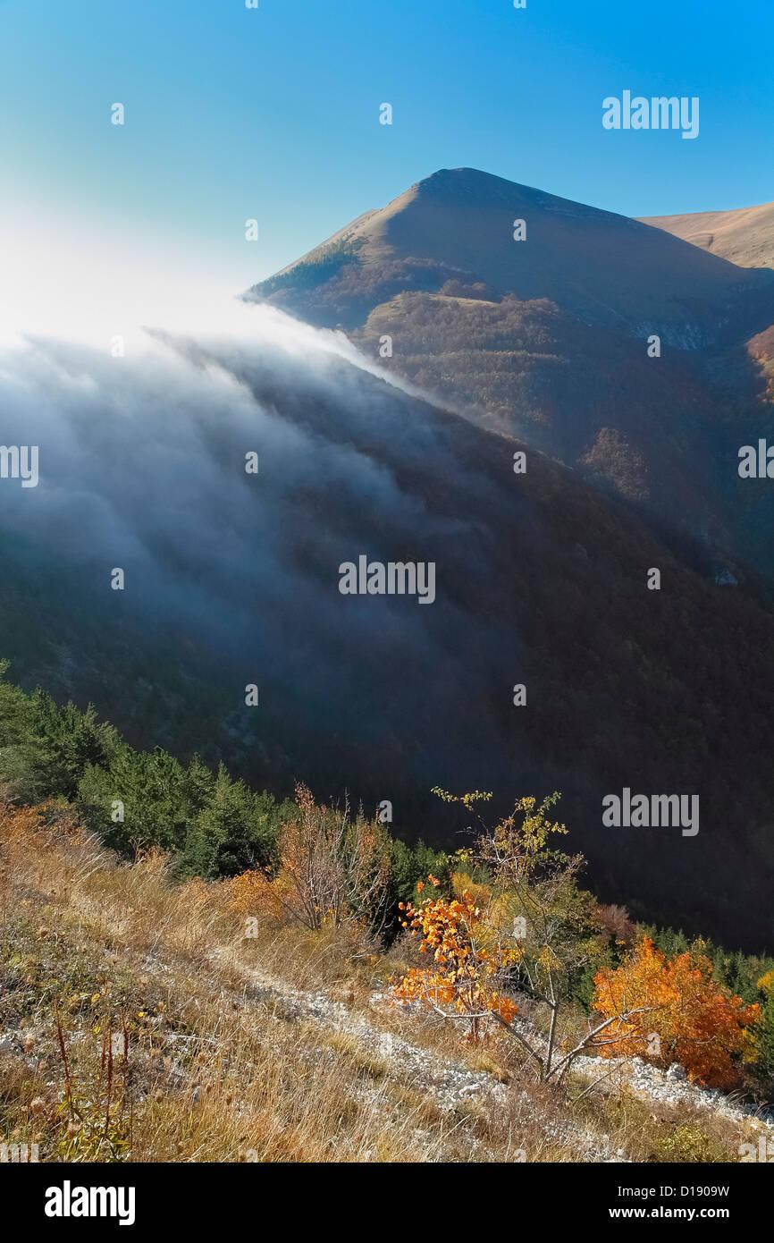 Italy Sibillini Mountains National Park Fog - Stock Image